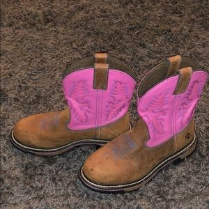 Women's rocky pink and brown leather boots